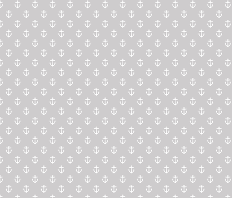 Light Gray Anchors fabric by sweetzoeshop on Spoonflower - custom fabric