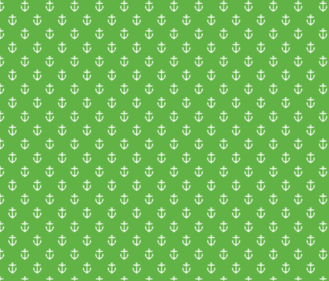 Kelly Green Anchors fabric by sweetzoeshop on Spoonflower - custom fabric