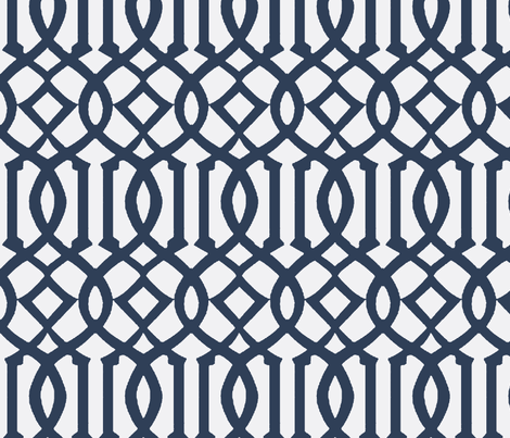 Imperial Trellis-Navy/White Reverse-Large fabric by mrsmberry on Spoonflower - custom fabric