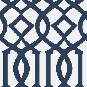 Imperial Trellis-Navy/White Reverse-Large