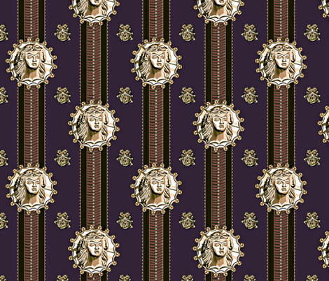 Thracian_medallion_opulent ribbon fabric by glimmericks on Spoonflower - custom fabric