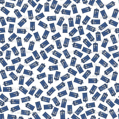 Scattered tardis on white