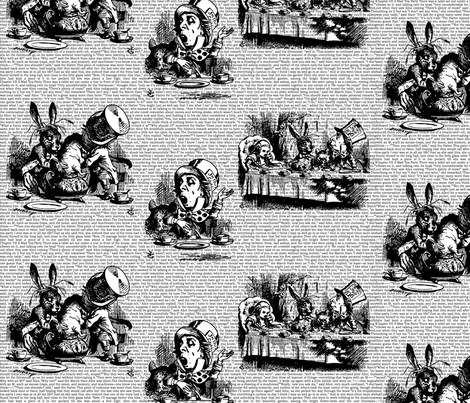 Alice Vintage Text Toile Black/White (small) fabric by ophelia on Spoonflower - custom fabric