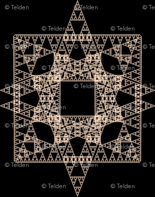 Tan Triangles, Squares and Stars Fractal - Oh, My!
