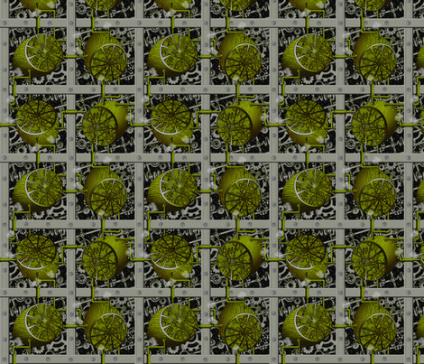 Steampunk Limes - Full Steam Ahead fabric by glimmericks on Spoonflower - custom fabric