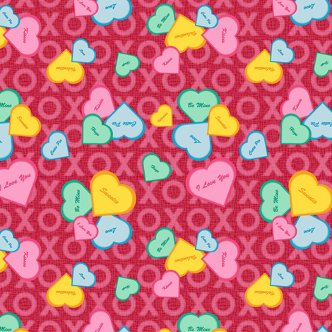 Valentine Sweet Hearts  fabric by jjtrends on Spoonflower - custom fabric
