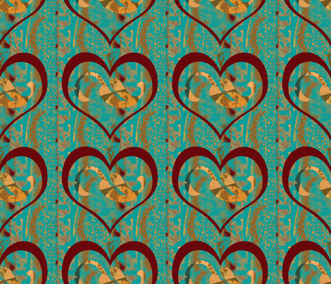 Floating Hearts and Falling Leaves fabric by anniedeb on Spoonflower - custom fabric