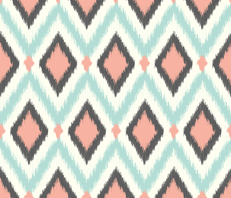 Aqua Pink and Gray Tribal Ikat Chevron
