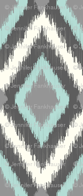 Gray and Aqua Tribal Ikat Chevron