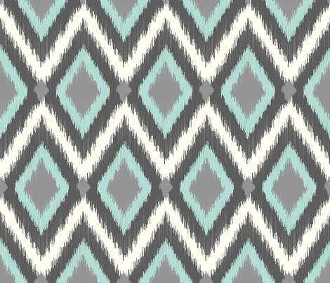 Gray and Aqua Tribal Ikat Chevron fabric by sweetzoeshop on Spoonflower - custom fabric