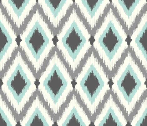 Ivory Aqua and Gray Tribal Ikat Chevron