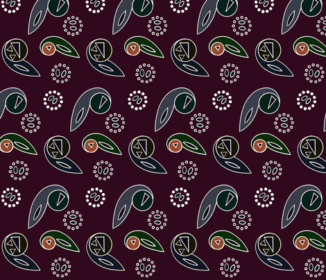 Paisley and Wheels Abstract - Dark 2 - Large fabric by telden on Spoonflower - custom fabric