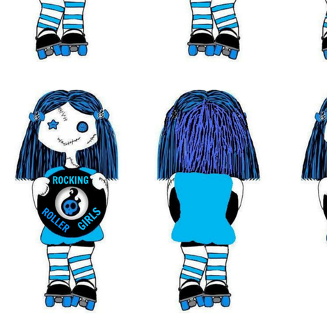 7 in blue rocking derby doll