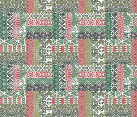 Crazy Wreath Stitched Rail Fence Cheater Quilt