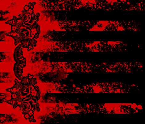 Carnival Rose Border Stripe Blood on Black