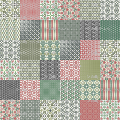 """Crazy Wreath Stitched Cheater Quilt - 6"""" Squares"""