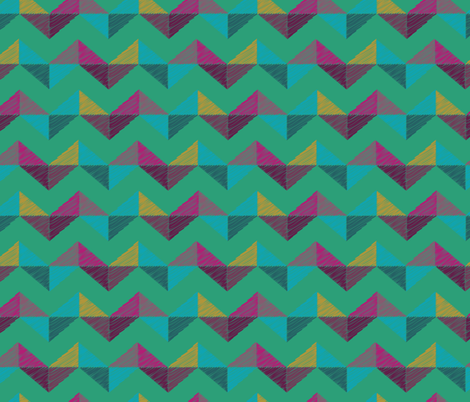 Geo Chevron_emerald fabric by bee&lotus on Spoonflower - custom fabric