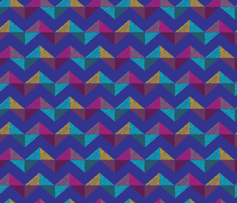 Geo Chevron_sapphire fabric by bee&lotus on Spoonflower - custom fabric
