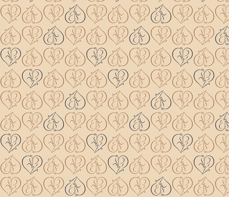 Sighthound hearts beige fabric by lobitos on Spoonflower - custom fabric