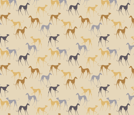 Azawakhs beige fabric by lobitos on Spoonflower - custom fabric
