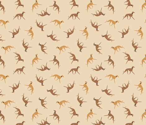sighthound with collar beige fabric by lobitos on Spoonflower - custom fabric