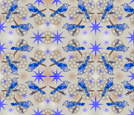 Bluejays - Beige fabric by telden on Spoonflower - custom fabric