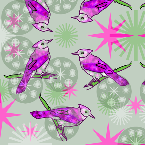Pink Bluejays - Green fabric by telden on Spoonflower - custom fabric