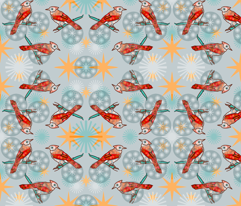Orange Bluejay - Mint fabric by telden on Spoonflower - custom fabric
