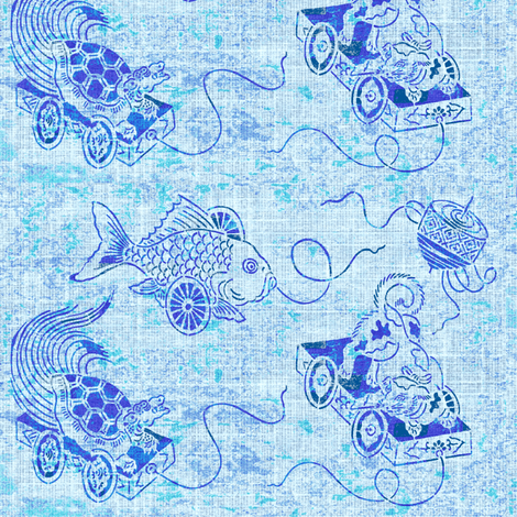 Japanese Folk Toys - blue on blue fabric by materialsgirl on Spoonflower - custom fabric