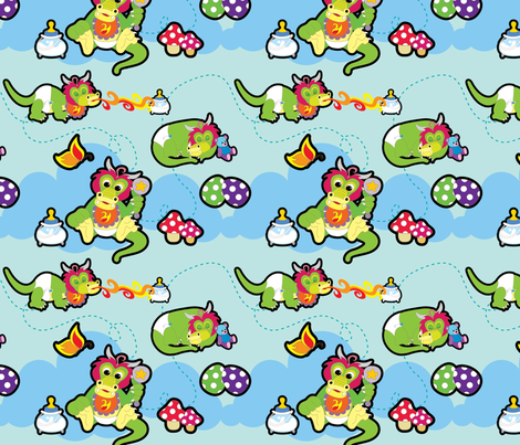 baby dragon fabric by thickblackoutline on Spoonflower - custom fabric
