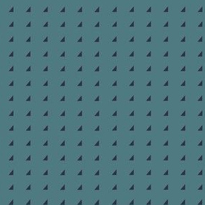 Tiny Triangles - Navy on Teal