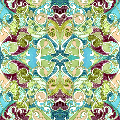 A Tangle of Love and Leaves fabric by edsel2084 on Spoonflower - custom fabric