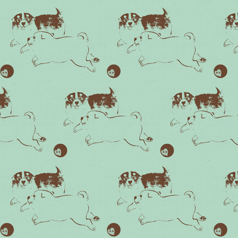 Puppy Love -  blue/brown fabric by materialsgirl on Spoonflower - custom fabric