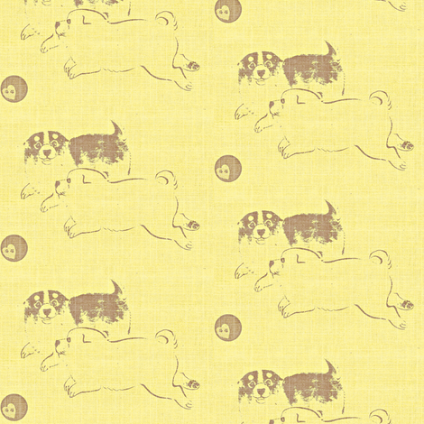 Puppy Love - pale yellow and brown fabric by materialsgirl on Spoonflower - custom fabric