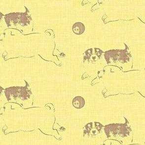 Puppy Love - pale yellow and brown