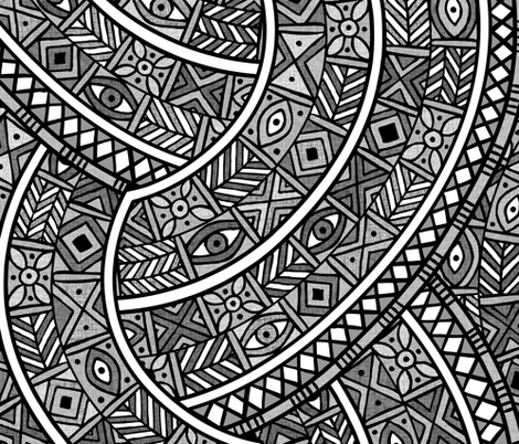 Oba Charcoal fabric by spellstone on Spoonflower - custom fabric