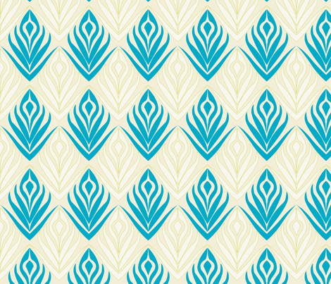Budding Blooms in Turquoise fabric by horn&ivory on Spoonflower - custom fabric