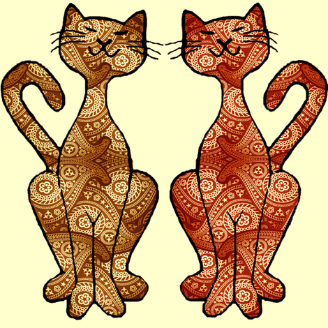 paisley kitties big fabric by krs_expressions on Spoonflower - custom fabric