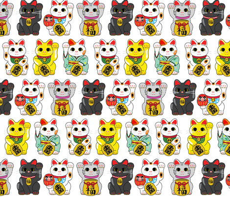 Maneki Neko - Lucky Cat fabric by studiomarimo on Spoonflower - custom fabric