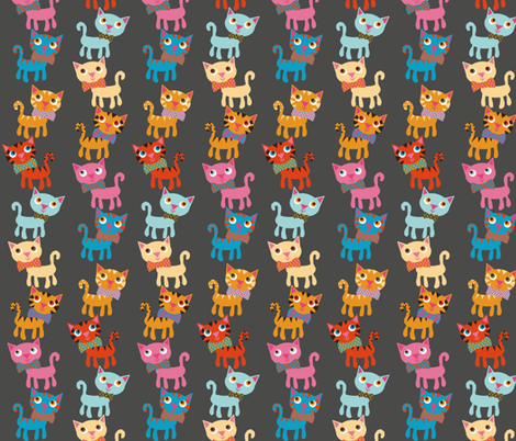 cat stack gray fabric by heidikenney on Spoonflower - custom fabric