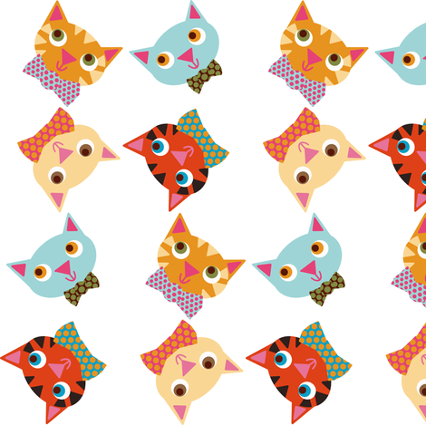 cat heads fabric by heidikenney on Spoonflower - custom fabric