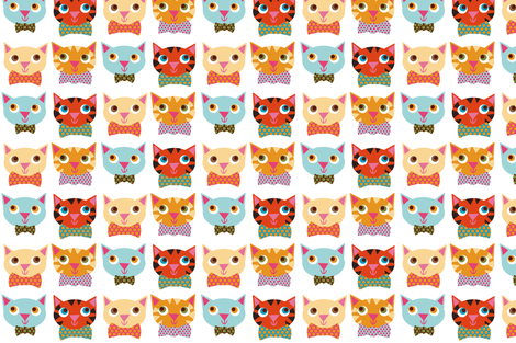 cat faces fabric by heidikenney on Spoonflower - custom fabric