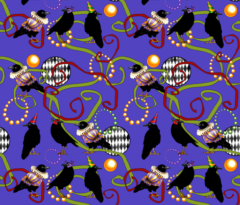 Mardi Gras Caw II fabric by golders on Spoonflower - custom fabric