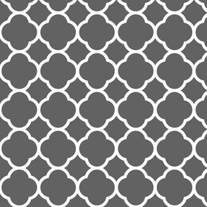 Charcoal Gray Quatrefoil