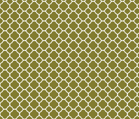 Olive Green Quatrefoil