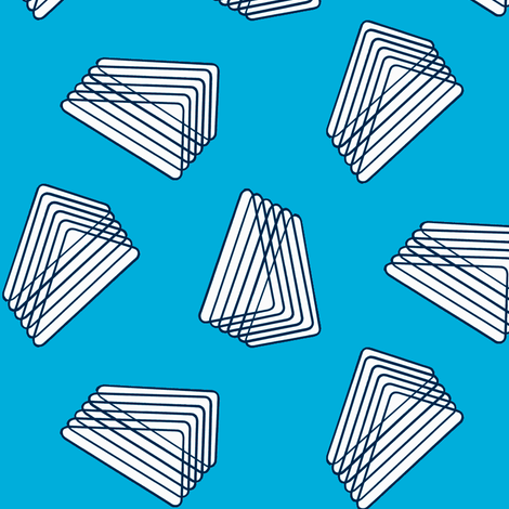 Floating Stacked Triangles - Turquoise fabric by telden on Spoonflower - custom fabric