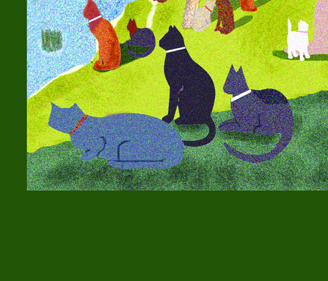 """Seurat's Cats"" Yardage fabric by higmeister on Spoonflower - custom fabric"