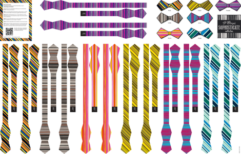 Striped Sophisticate Collection: 7 Cut & Sew Bow-Ties fabric by lavaguy on Spoonflower - custom fabric