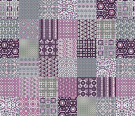 "Lavender Garden Stitched Cheater Quilt - 3"" Squares fabric by stitchinspiration on Spoonflower - custom fabric"