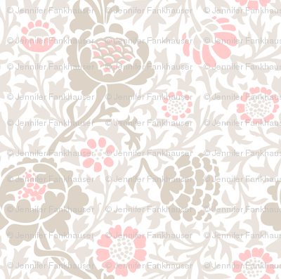 Light Pink and Linen Retro Floral Damask
